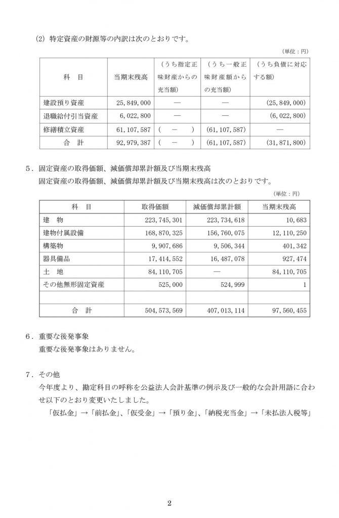 財務諸表に対する注記2(栃木県労働者福祉センター)